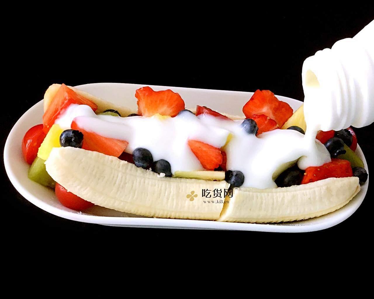 水果酸奶香蕉船的做法 步骤3