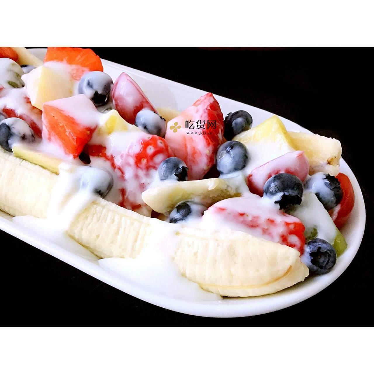 水果酸奶香蕉船的做法 步骤4