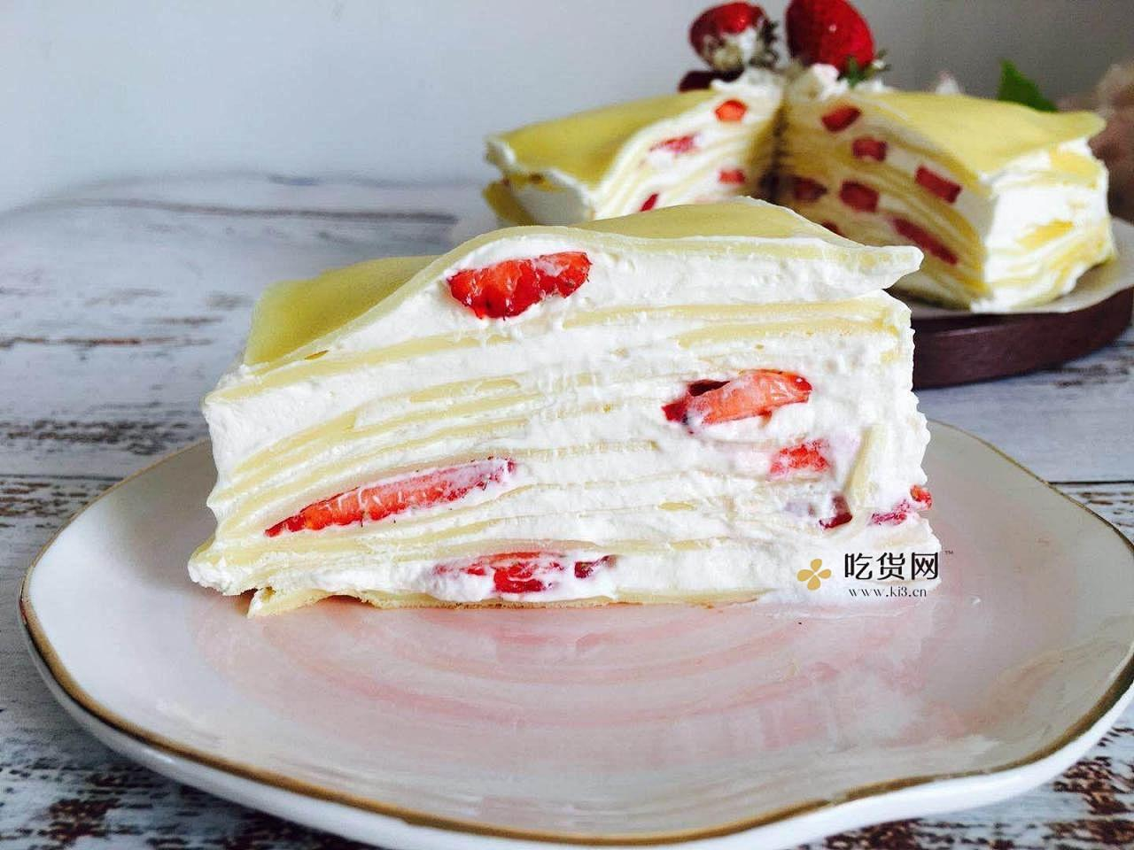 免烤箱~平底锅就能做的草莓千层蛋糕的做法 步骤17