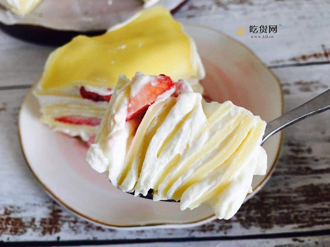 免烤箱~平底锅就能做的草莓千层蛋糕的做法 步骤21