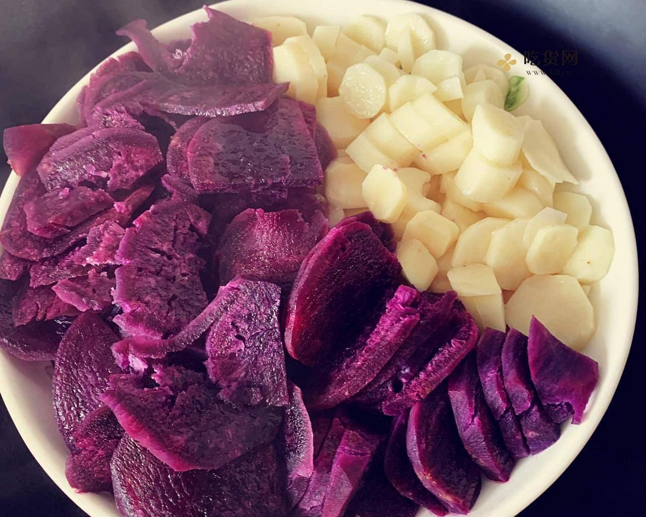 减肥餐紫薯山药饼的做法 步骤2