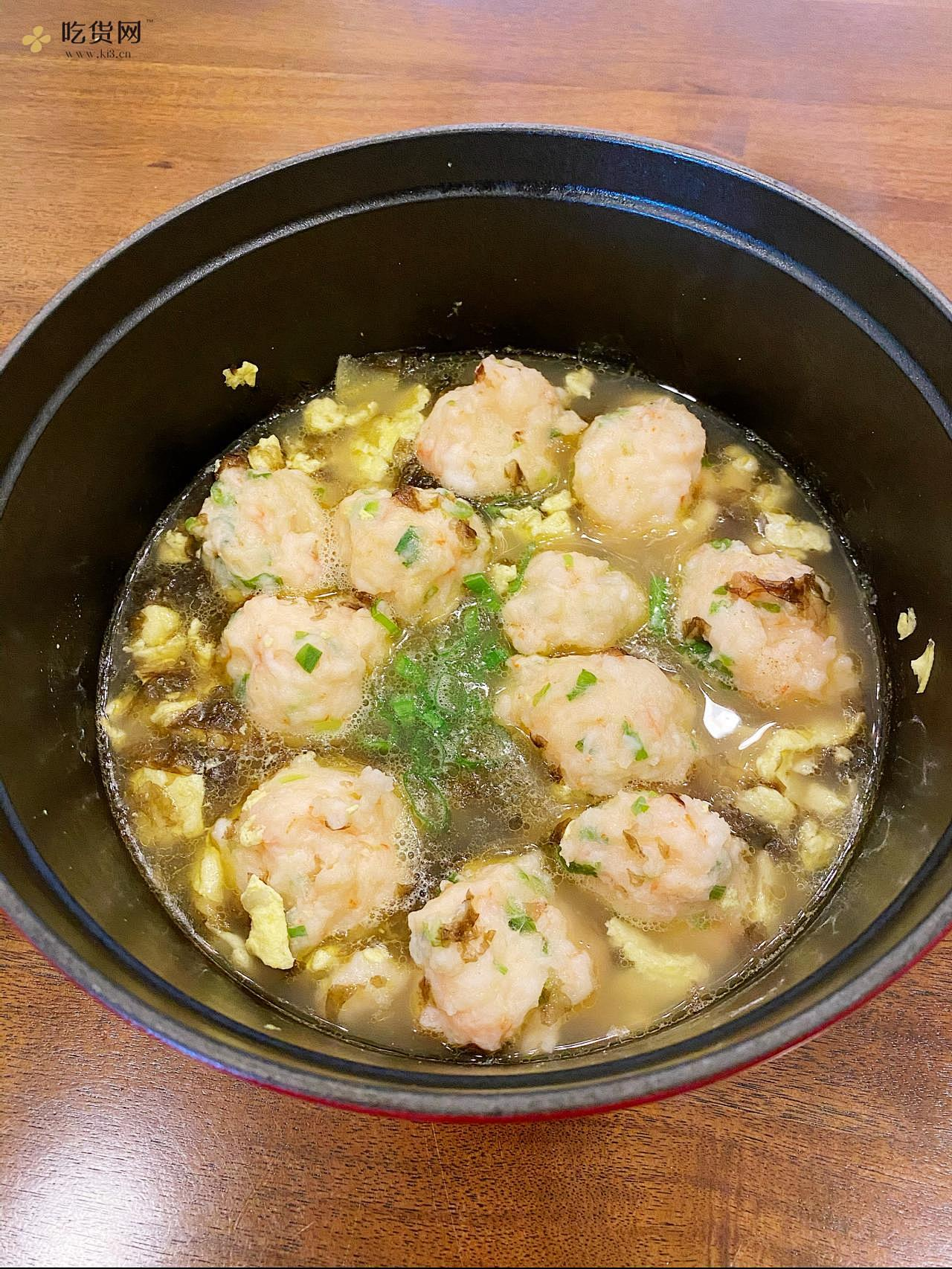 减肥餐:虾滑紫菜蛋花汤的做法 步骤3