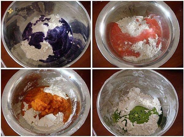 自制纯天然蔬菜汁彩色面条的做法 步骤2