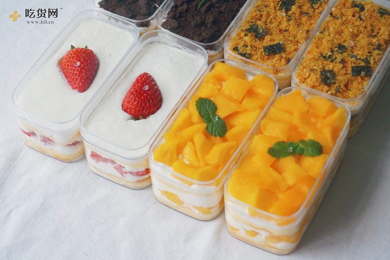 一次搞定4款盒子蛋糕|草莓|芒果|肉松|奥利奥|超高颜值|野餐必备的做法 步骤34