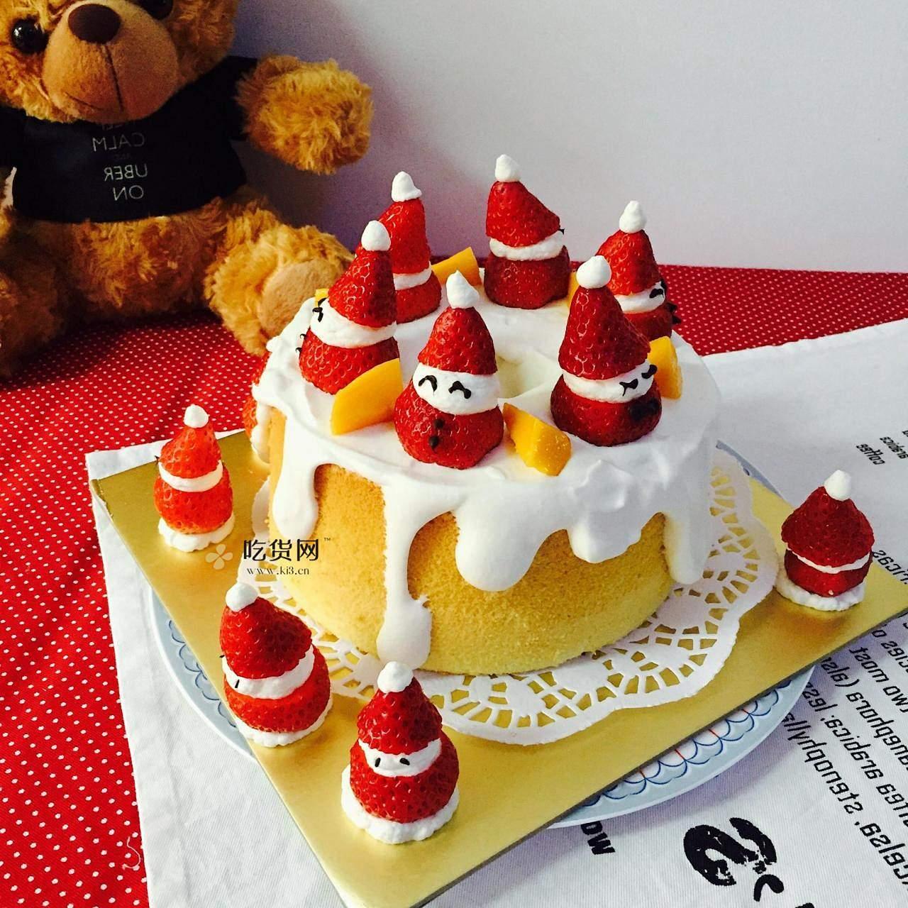 圣诞草莓雪人裸蛋糕~超简单懒人版的做法 步骤6