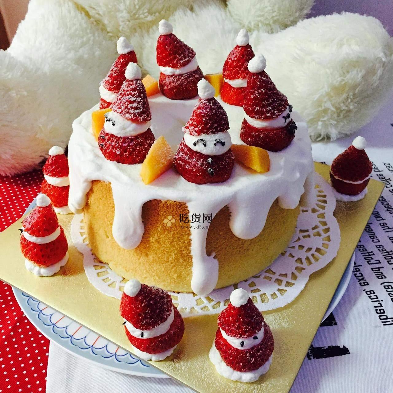 圣诞草莓雪人裸蛋糕~超简单懒人版的做法 步骤8