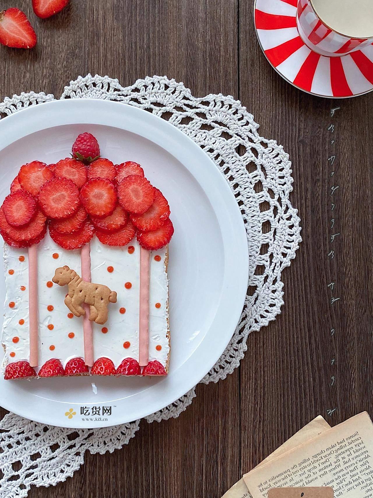 趣味早餐🔥童话世界❤️旋转木马🎠水果吐司的做法 步骤5