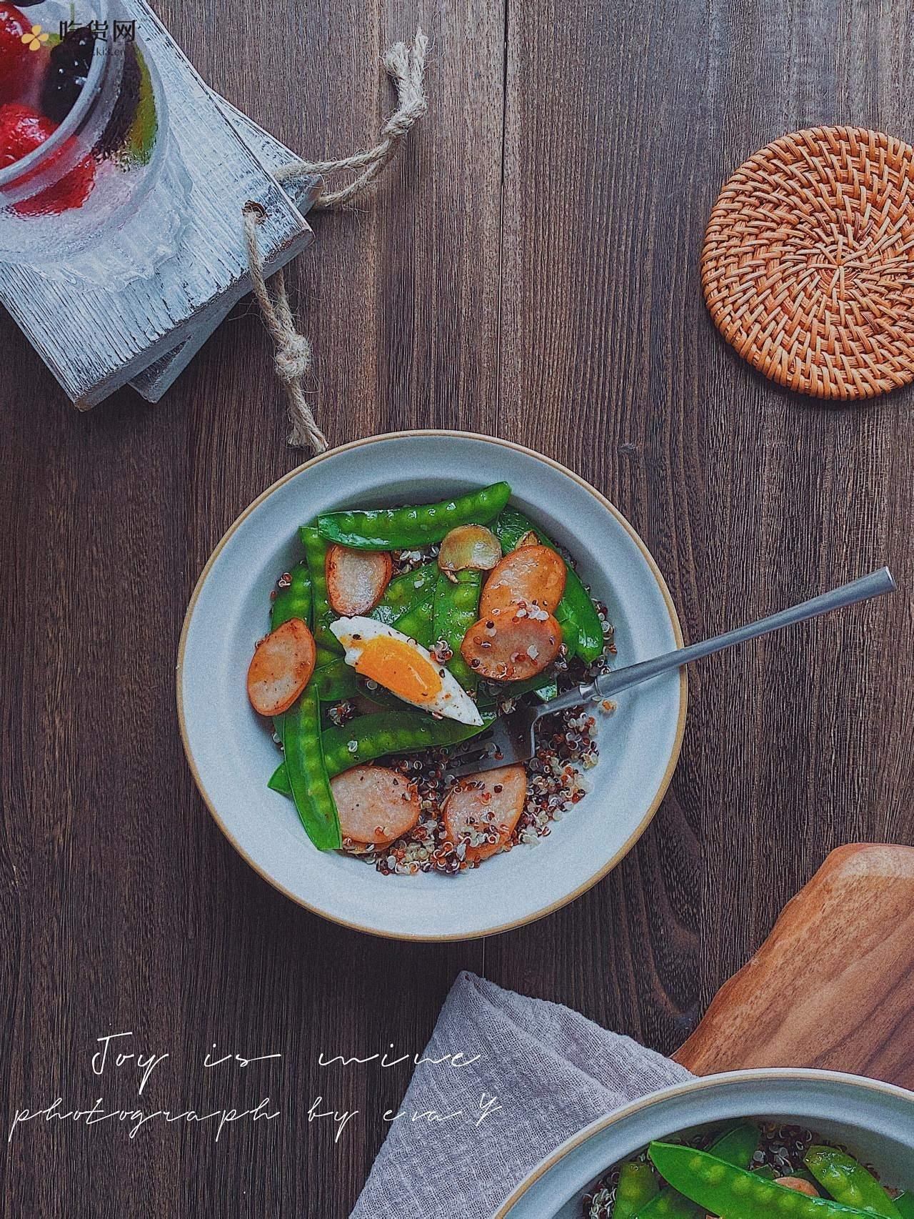 好吃的减肥餐❗️小清新荷兰豆香肠藜麦饭的做法 步骤7