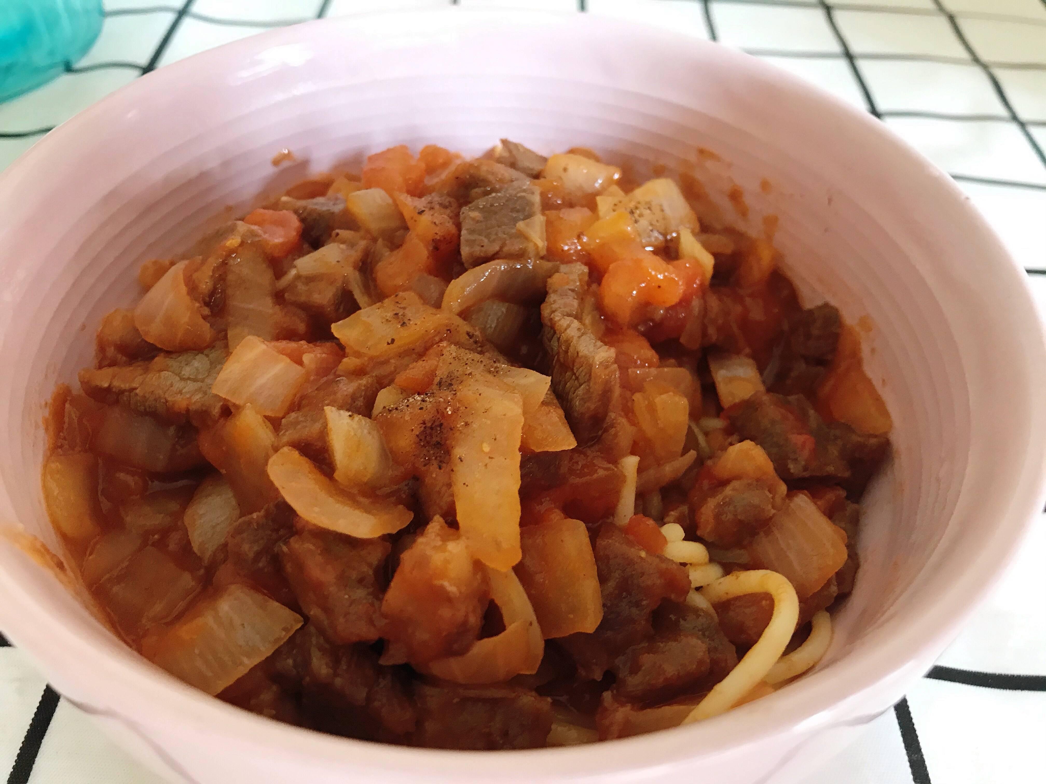 番茄牛排粒意面🍝的做法 步骤2