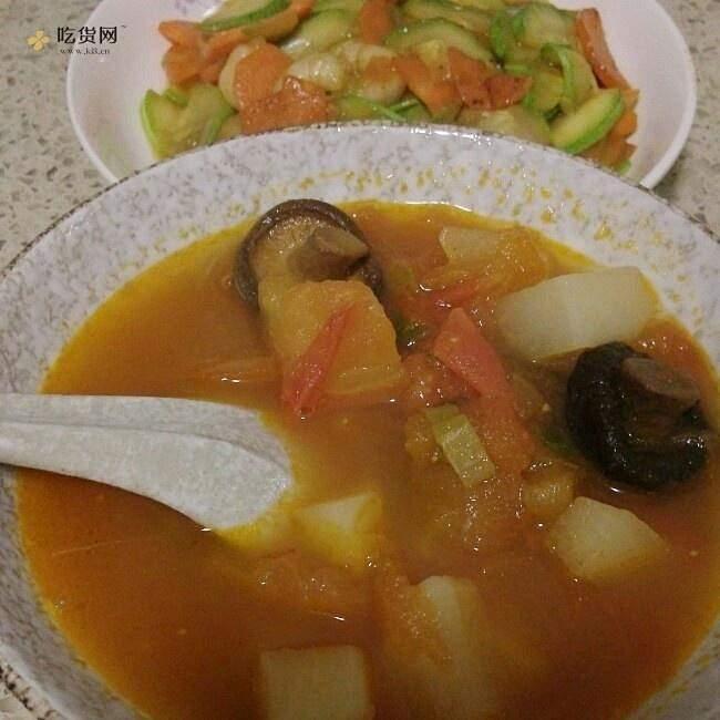 番茄白萝卜香菇汤(减肥餐)的做法 步骤7