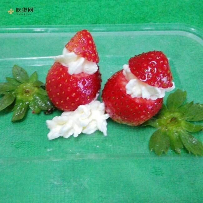 草莓圣诞老人、圣诞雪人的做法 步骤7